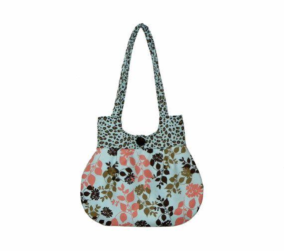 Sweet Pea Tote Purse Handbag Pale Blue Coral Brown by craftcrazy4u, $35.00: Coral Brown, Purse, Blue Coral, Handbag Pale, Handmade Sweet, Pale Blue