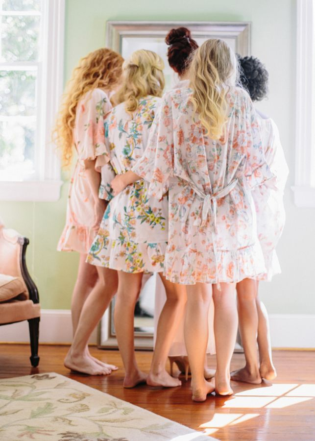 The prettiest girl squad in new Flutter robes from Plum Pretty Sugar. These sweet gifts are wearable for so many wedding pre-occasions and memorable presents to wear long after. At www.PlumPrettySugar.com.