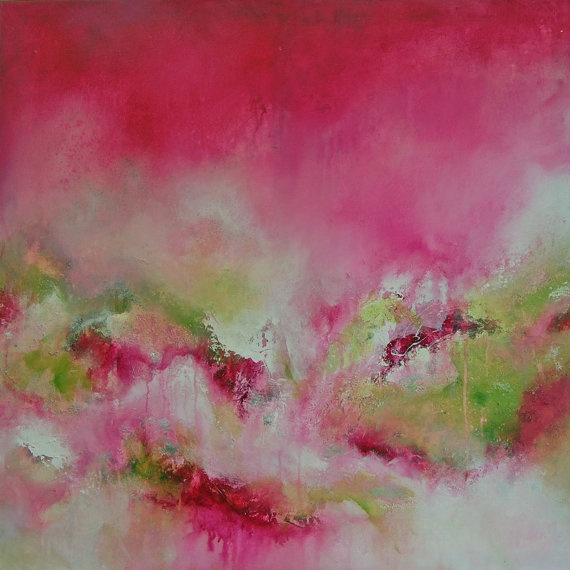 Pink Abstract Painting Original Modern Canvas Art Contemporary Artwork Pink Green White uk. £275.00, via Etsy.