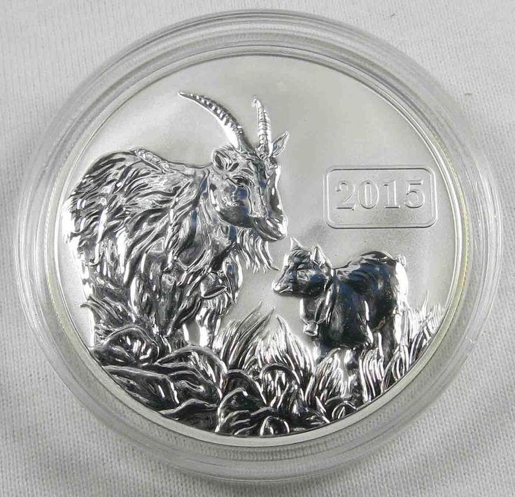 Tokelau 5 Dollars 2015 Lunar Year of the Goat Ziege 1 OZ Unze 999 Silber [5142
