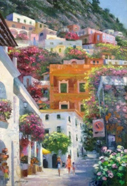 "Original Painting ""A Day in Positano I, Italy 49x37"" by Howard Behrens"