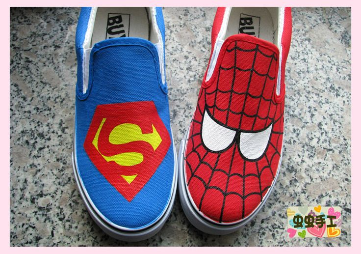 hand-painted shoes graffiti shoes canvas shoes female SupermanSpider-Man $1201,63