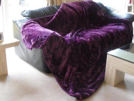 X Large Purple Aubergine Faux Fur Throw Mink Blanket
