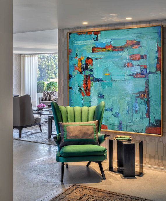 Original contemporary art on canvas, Large hand painted square painting by CZ ART DESIGN, for contemporary interior. @CeilneZiangArt