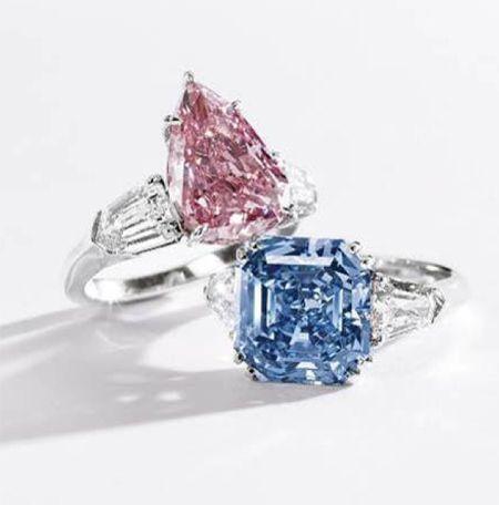 5.03-carat pear-shaped fancy vivid pink diamond ring & 8.01-carat fancy vivid blue diamond ring, Sotheby's