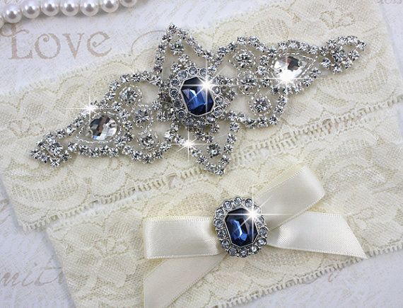 SALE - Best Seller - CHLOE II - Sapphire Blue Wedding Garter Set, Lace Garter, Rhinestone Crystal Bridal Garters, Something Blue - I want this set!!!