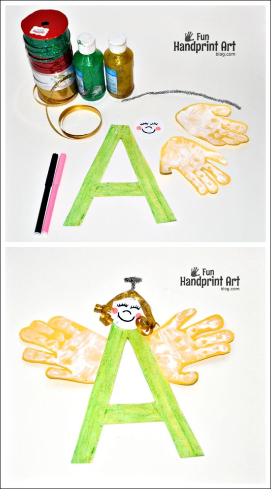 Letter A Craft - Handprint Angel