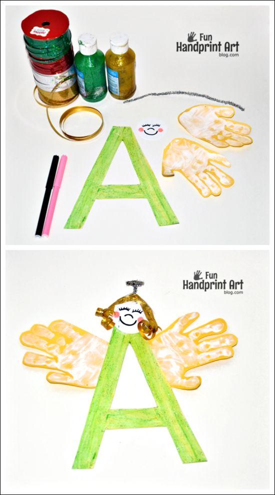 Letter A Craft - Handprint Angel