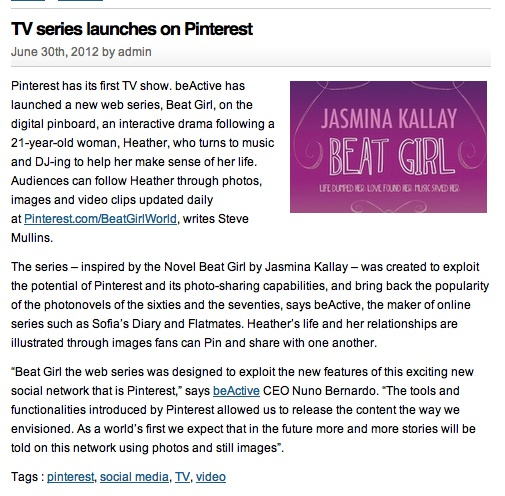 #TV series launches on #Pinterest | Brand -e.biz #BeatGirl