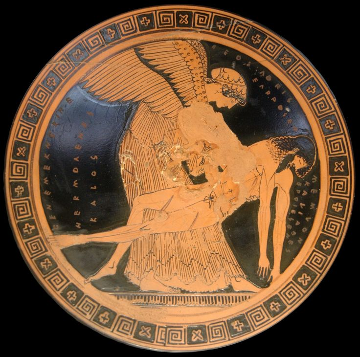 The Memnon pieta, Eos lifts up the body of her son Memnon. Kalos inscription. Interior from an Attic red-figure cup, ca. 490–480 BC.