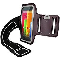 iGadgitz Reflective Anti-Slip Black Sports Jogging Gym Armband for Motorola Moto G 4G 1st Generation, Moto E 1st & 2nd Generation & Moto X 1st Generation 2013 With Key Slot
