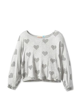 73% OFF Vintage Havana Girl's Striped Hearts Dolman Sweater (Grey)