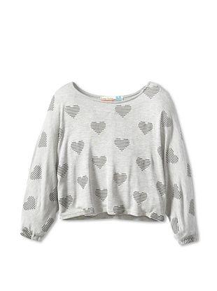 73% OFF Vintage Havana Girl's Striped Hearts Dolman Sweater (Grey)