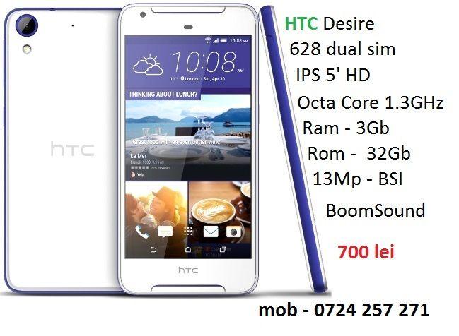 HTC Desire 628Marble White.Nou.Full.Box mob - 0724257271