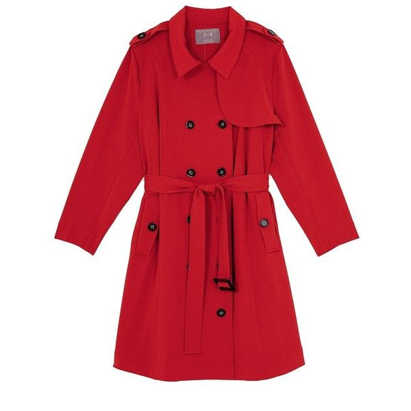 Melissa Mccarthy Seven7 Plus Double-Breasted Trenchcoat (7.995 RUB) ❤ liked on Polyvore featuring plus size women's fashion, plus size clothing, plus size outerwear, plus size coats, lolipop red, plus size, long sleeve coat, red trench coat, womens plus coats and trench coat