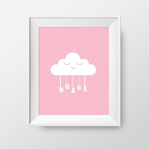 Affiche 8X10 nuage  Affiche chambre enfant thème nuage
