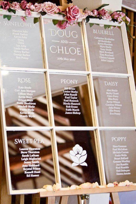 Mirror Table Plan For Window Mirrors Window Glass Frames Etsy Seating Plan Wedding Wedding Table Plan Seating Chart Wedding