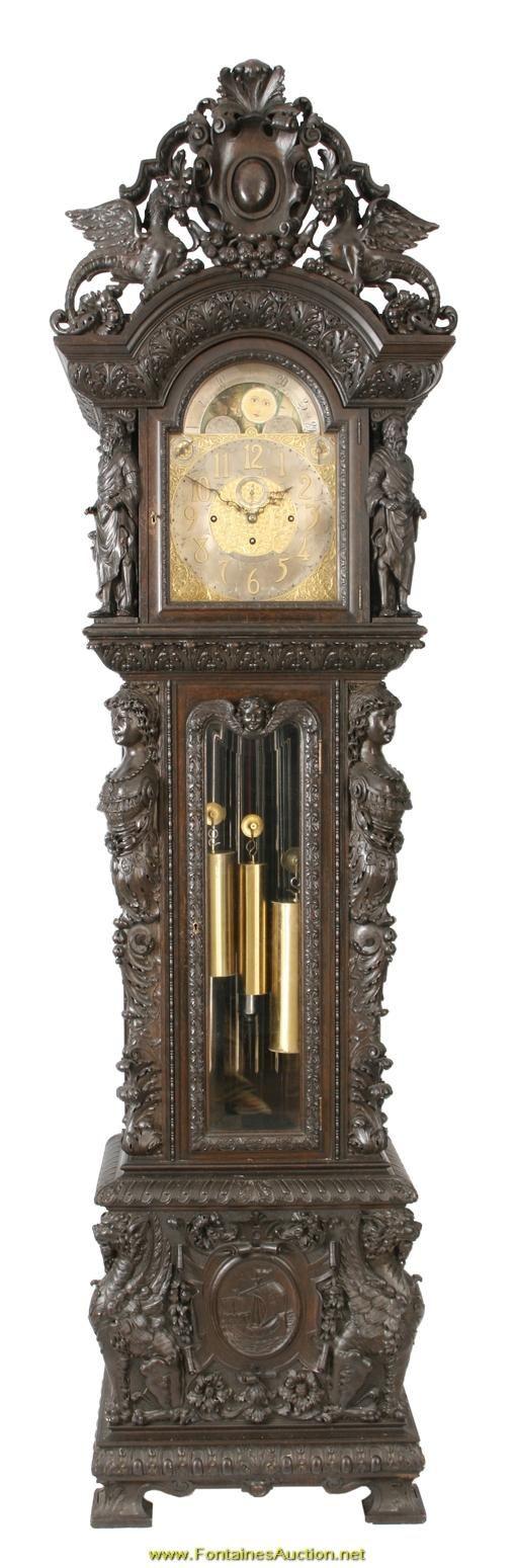 Figural Carved Oak 9 Tube Grandfather Clock
