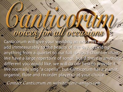 Thank you to Canticorum, for doing this feature for us........  Canticorum  Music is an essential element for a special occasion. It provides atmosphere - joyful or solemn - and stirs the senses even when it is only a background accompaniment. It is a wonderful thing to hear a congregation singing with enthusiasm and love.....  To read more..... Click Here: http://www.algarveweddingdirectory.info/section698847.html