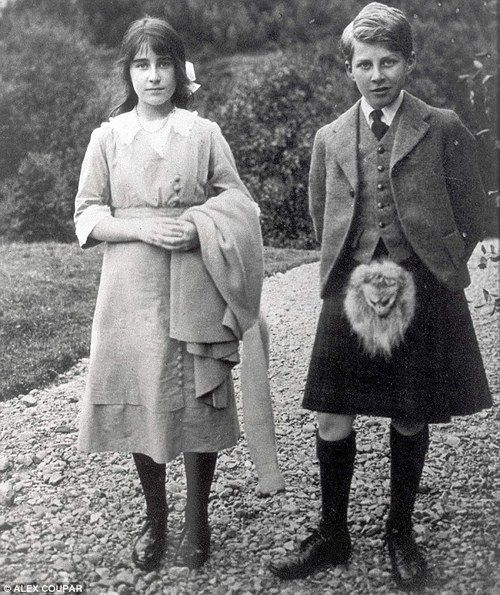 Lady Elizabeth Bowes-Lyon (The Queen Mother) at 15 with her brother who was 13.