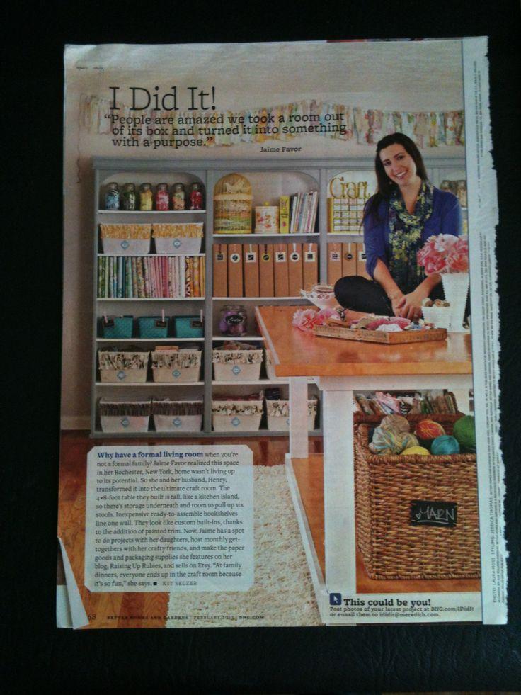 Scrapbook/craft room in BHG magazine.