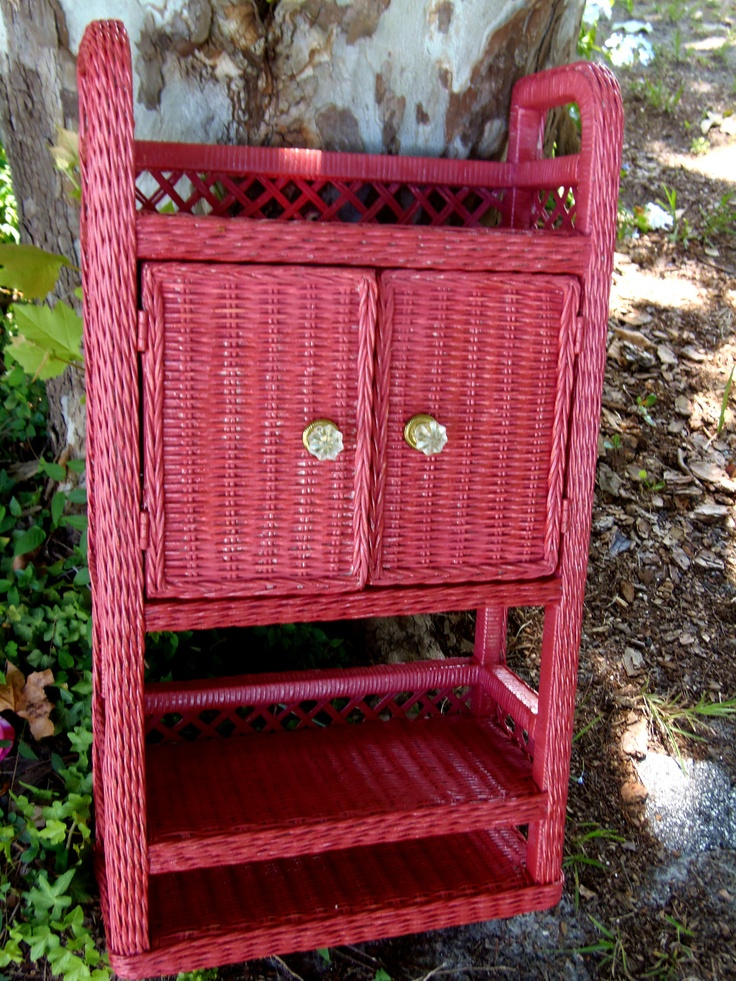 could do in lighter color, or even a green? Wicker Cabinet Coral Pink Shabby Chic Bedroom Cabinet Wicker Furniture Cottage Wicker.