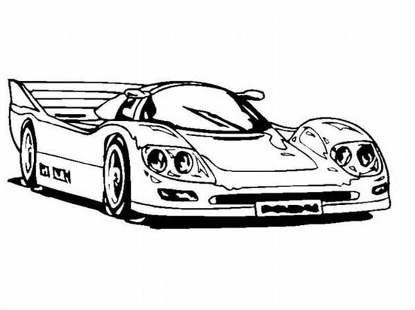 Awesome Car Coloring Pages : Super race car with awesome back spoiler coloring page