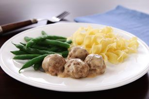 Easy Swedish Meatballs Recipe - This was so easy to make and sooo yummy! I made them a little bigger for the two of us, with some mashed potatoes and sweet corn on the side :) - MB
