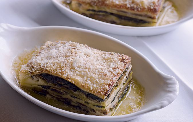 Simon Hopkinson's delicious mushroom, ham and spinach lasagne will definitely have your guests coming back for more.