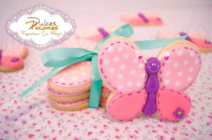 Butterflies cookies with icing, Galletas de mariposas decoradas,Biscoitos borboleta