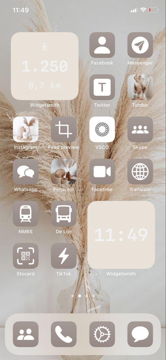 Ios 14 Aesthetic Beige Homescreen Homescreen Iphone Iphone Photo App Iphone Wallpaper App Cool ios 14 backgrounds aesthetic