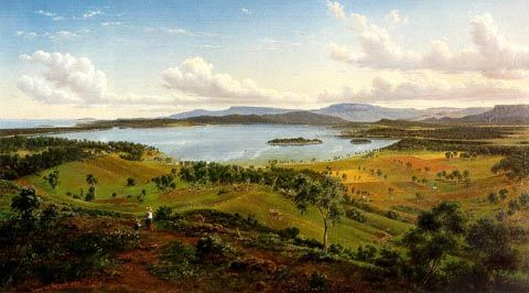 Vue sur le lac Illawarra Avec Distant de Eugene Von Guerard (1811-1901, Austria)