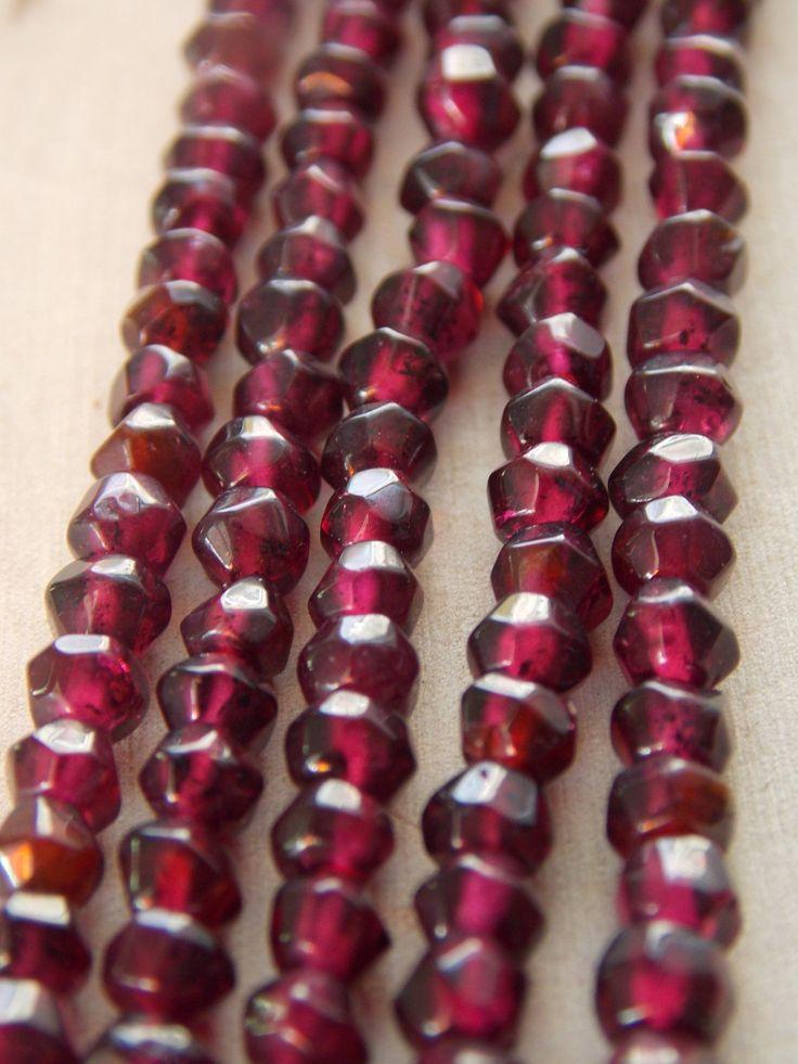 4-5mm Faceted Garnet Beads, Stand of Garnet Beads, Garnet Beads, Faceted Garnet Beads, Faceted Rondelle Beads, Beading Supplies, Garnet by Loft12Studios on Etsy