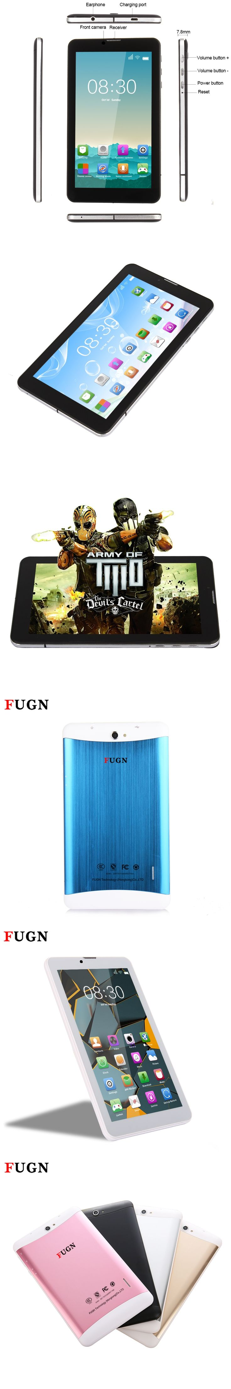 FUGN 7 inch Smart Tablet PC Android for Kids Quad Core 1GB+16GB Wifi Dual Cameras 3g Phone Call Notebook Tablets with Keyboard