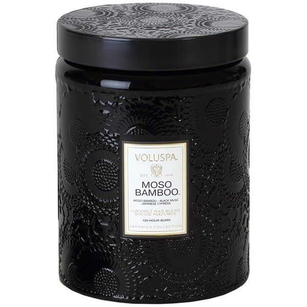 Voluspa 'Japonica - Moso Bamboo' Large Embossed Jar Candle (326.390 IDR) ❤ liked on Polyvore featuring home, home decor, candles & candleholders, fillers, candles, black fillers, other, black candles, floral home decor and scented candles
