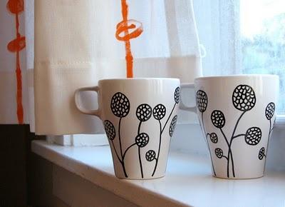 Use paint pens to decorate plain porcelain items (per blog comments, use Pebeo Porcelaine pens)