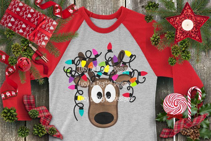 Christmas Lights Tangled Reindeer Watercolor By Cheri