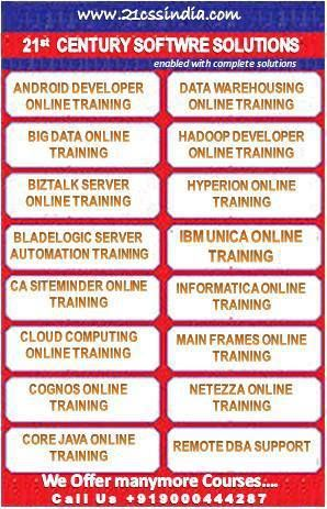 At 21stcentury software solutions, candidates are offered Software Training  in order to provide them an insight into the most interesting features of the best software courses Online Training. Candidates may register for an online demo by simply submitting their details in the Enquiry Section. Visit Us http://www.21cssindia.com  Call us +919000444287