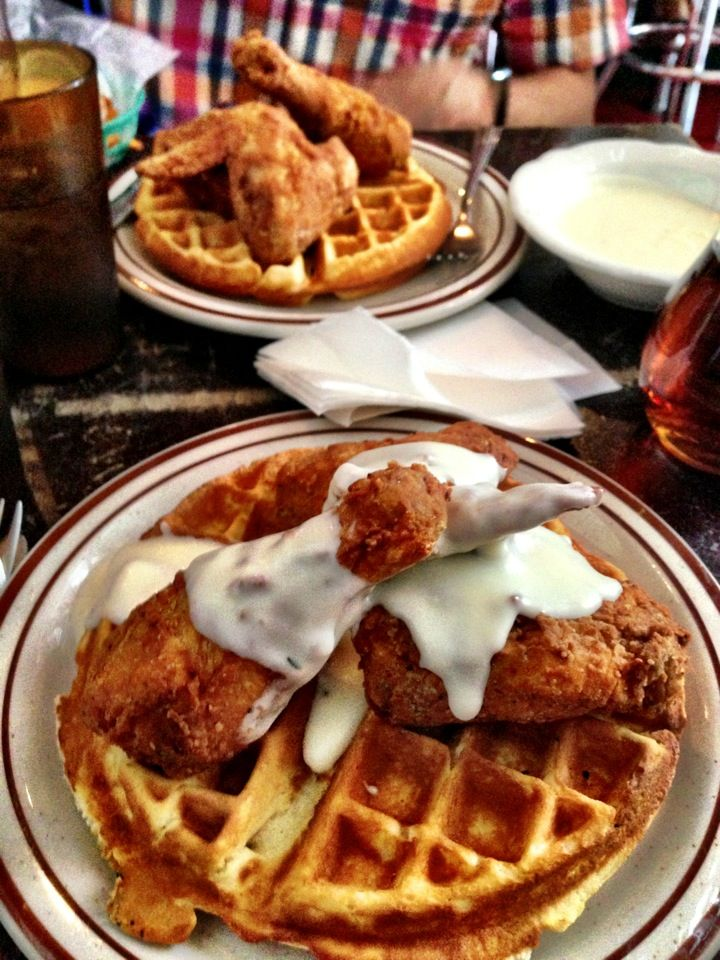 Delicious fried chicken and waffles, southern food and brunch stuff.