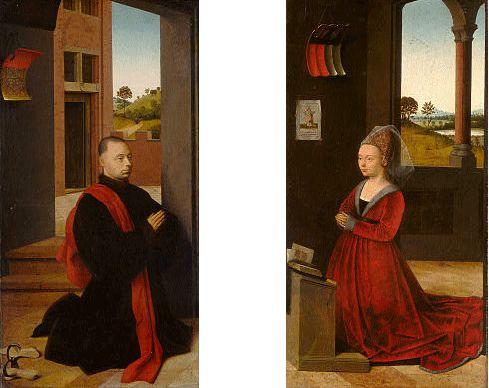 Portraits d'un homme et d'une femme et donateurs, vers 1460-1465, Petrus Christus, (Washington, National Gallery). Les membres de la communauté italienne résidant à Bruges, généralement des marchands de Florence, Gênes, Lucques, Pise ou Venise et leur famille, comptaient parmi les principaux clients des peintres flamands, à qui ils commandaient des portraits et des retables. Après le décès de Van Eyck, ce fut Petrus Christus, établi à Bruges depuis 1442, qui profite le premier de cette…