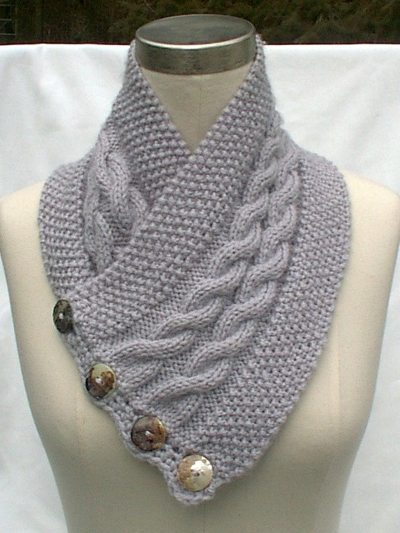 Neck Warmer Scarf Gray Hand Knit Cables by ClearlyChristine