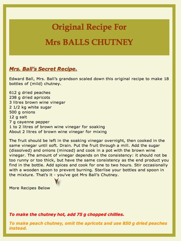 The original recipe for Mrs Balls Chutney….