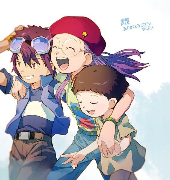 Digimon Adventure 02 - The New DigiDestined: Davis (Daisuke) Motomiya, Yolei (Miyako) Inoue and Cody (Iori) Hida