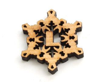 Mini Snowflake Wood Monogram Tie-on Letter M by TimberGreenWoods