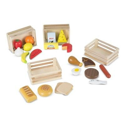 Melissa & Doug Food Groups – 21 Hand-Painted Woodenpc and 4 Crates, None – Dnu  – Barbie doll house