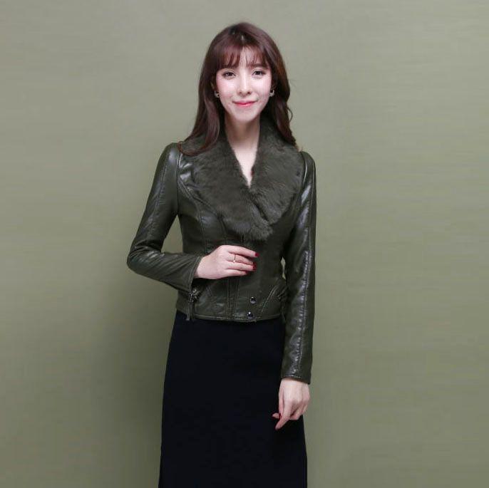 >> Click to Buy << S M L XL 2XL 3XL 4XL female rabbit Leather Biker Jacket slim turn down hairy collar leather jacket PU short coat jackets #Affiliate