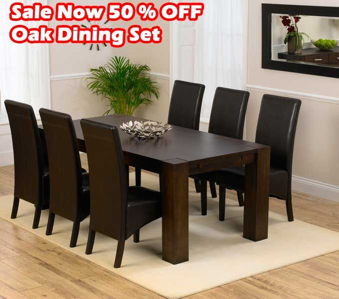 BIG SALE 50% OFF Madrid 200cm Dark Solid Oak Dining Table With Dakota Chairs