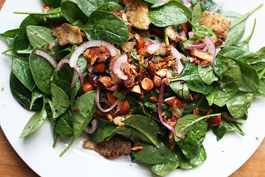 ... Doof » Baby Spinach Salad with Dates & Almonds - Jerusalem cookbook