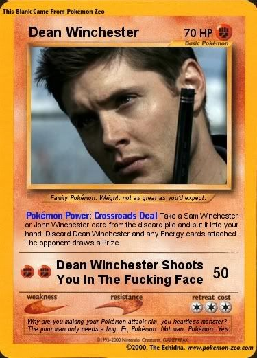 This link has a few Supernatural Pokemon cards throughout the comments and stuff. Kinda neat!Supernatural Obsession, Events, Plays, Dean Devotions, Dean Winchester, Pokemon Cards, Awesome Twosome, Wayward Sons, Serious Supernatural