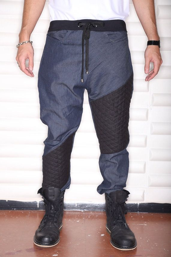 Dril ligero azul oscuro y negro tela acolchada cruzan raya - Mens gota entrepierna o Jogger pantalones - pantalones de motorista